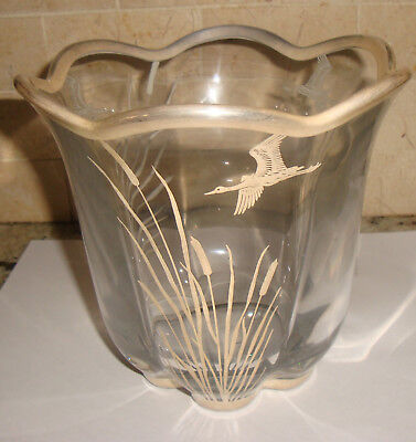 "Vintage 6"" Silver Overlay Vase Bird Winter Scene Clear Glass Crystal Art Deco"