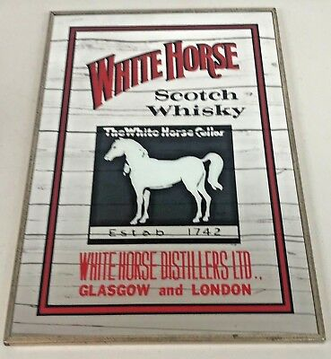 "White Horse Distilleries Blended Scotch Whisky Mirror Framed Sign RARE 18""X12"""