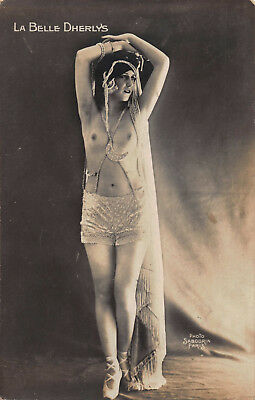 Original French nude lady RPPC risque photo flapper girl La Belle Dherlys 2