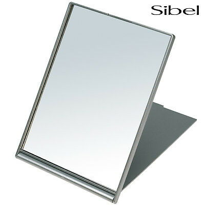 Sibel Professional Silver Folding Shaving Travel Mirror 17 x 13cm Handbag Size