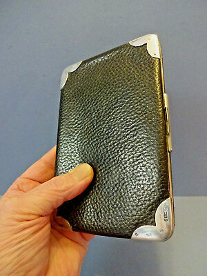 LARGE ENGLISH EDWARDIAN LEATHER CALLING CARD CASE WITH SILVER CORNERS, c 1910.