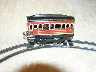 Antique German Lithographed Tin Clockwork Trolley with Track, Runs