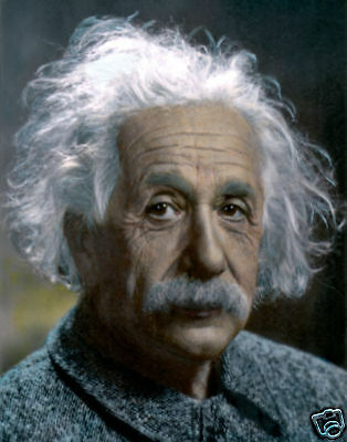 "ALBERT EINSTEIN THEORETICAL PHYSICIST SCIENCE 8x10"" HAND COLOR TINTED PHOTOGRAPH"
