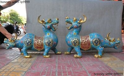 Chinese bronze Cloisonne Enamel Gilt Double head lion beast unicorn statue Pair