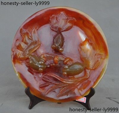 100% Natural Agate Onyx Hand carved fish goldfish statue Tray Pallets Dish plate