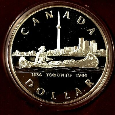 1984~ Canada~ Silver Proof~CAMEO~ Commemorative Dollar Coin~ With Case.