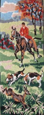 """New completed ROYAL PARIS needlepoint ,Beagle dogs, deer hunt 18.7""""X7"""""""