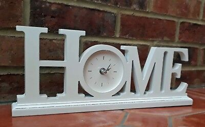 Home White Wooden Mantlepiece Clock Shabby Chic Contemporary New