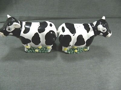 Holstein Cow Figural Salt Pepper Shakers Ceramic Youngs Inc New Black White