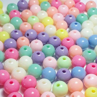 100pcs Assorted Pastel Plastic Craft Beads 8mm - B28559