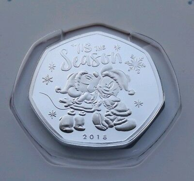 Disney 2018 Christmas Mickey & Minnie Mouse 50p Silver Plated Medal Coin & Card