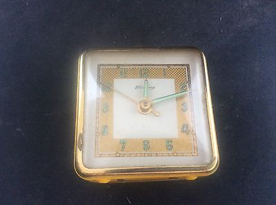 Vintage 1950s Blessing West Germany Yellow Enamel & Brass Alarm Clock Working