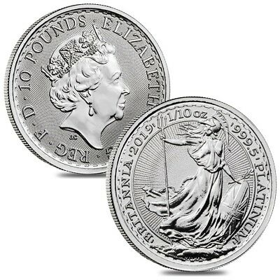 Lot of 2 - 2019 Great Britain 1/10 oz Platinum Britannia Coin .9995 Fine BU