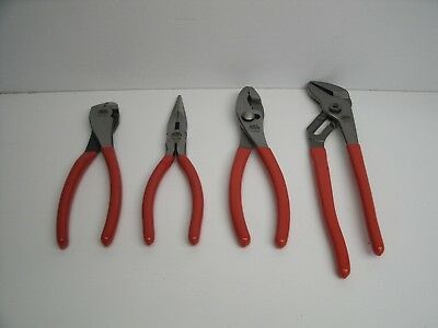 """New Mac Tools Red 8"""" 4-Pc Pliers Set"""