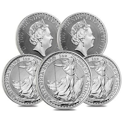 Lot of 5 - 2019 Great Britain 1 oz Platinum Britannia Coin .9995 Fine BU