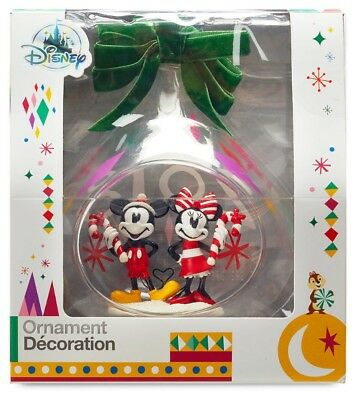 Disney Store Mickey and Minnie Mouse Holiday Glass Drop Christmas Ornament 2018