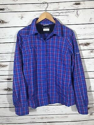 Columbia Womens Large Silver Ridge Plaid Long Sleeve Top Button Down Omni Shade