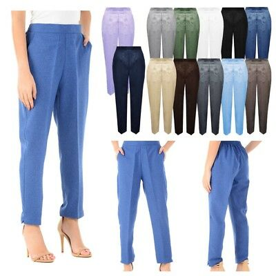 Women's Ladies Casual1/2 Elasticated Stretch Waist Work Trousers Pockets Pants