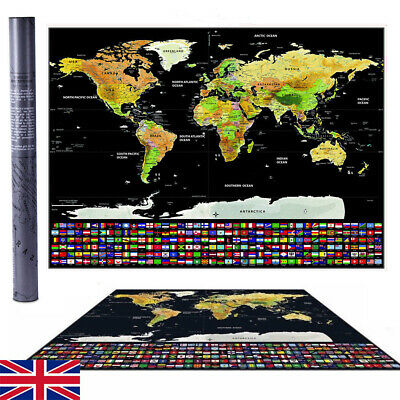 Travel Tracker Big Scratch Off World Map Poster with UK States Country Flags BE
