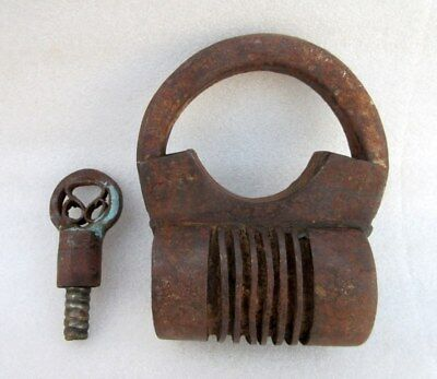 Vintage Collectible Old Iron Handcrafted Cylinder Shape Screw System Key Padlock