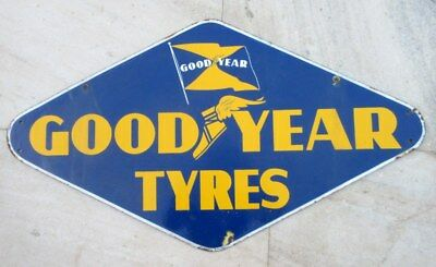Vintage Original Old Good Year Tyres Ad Diamond Cut Porcelain Enamel Sign Board