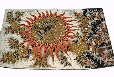 A Contemporary Michele Ray Tapestry With Sun, Birds & Tree