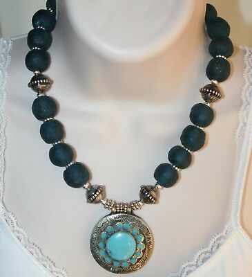 African Recycled Teal Blue Glass Bead Ethnic Tribal Style Statement Necklace