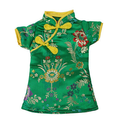 MagiDeal 18'' Doll Floral Chinese Cheongsam Dress For AG American Doll Green