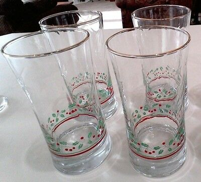 Arby's (Set of 4) Retro 1980's Water Glasses w/Gold Rims