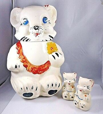 1940's Vintage Royal Ware Teddy Bear Cookie Jar + Matching Salt/Pepper Shakers