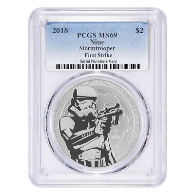 2018 1 oz Niue Silver $2 Star Wars Stormtrooper PCGS MS 69 FS