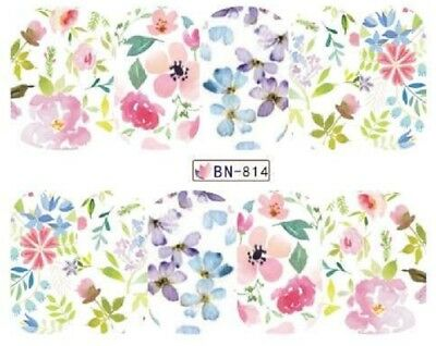 Nail Art Decals Transfers Stickers Multicoloured Flowers (BN814)