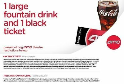 AMC Theaters Voucher for 1 Black TICKET and 1 Large DRINK Fast Delivery