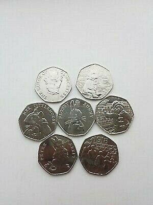 2018 SET 7x UK NEW 50P COINS FULL SET BEATRIX POTTER, ACT & BOTH PADDINGTON BUNC