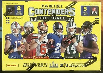 2018 Panini Contenders Football Nfl Trading Cards New Retail Blaster Box Sealed