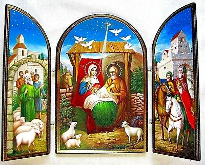 Nativity Triptych Russian Christmas Orthodox Icon Wood Silver Gold Gift box