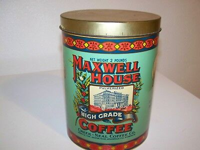 """Vintage 1979 Maxwell House Coffee Tin 2 Pound Can 7.5"""" Tall"""