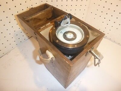 Hand Bearing Compass Vintage, Antique, wood Case flash light