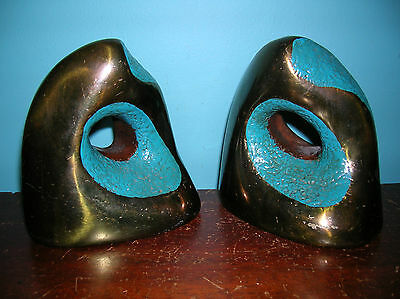Vintage Midcentury Modern bookends by Marion Bronze, original paint, near mint