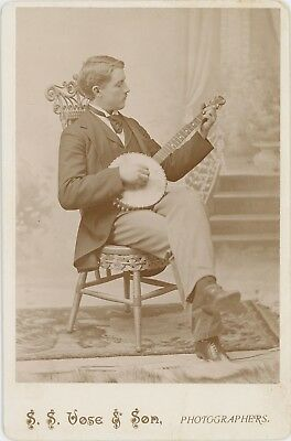 Playing Banjo Guitar Musical Instrument Waterville Maine Cabinet Card Photo 2922