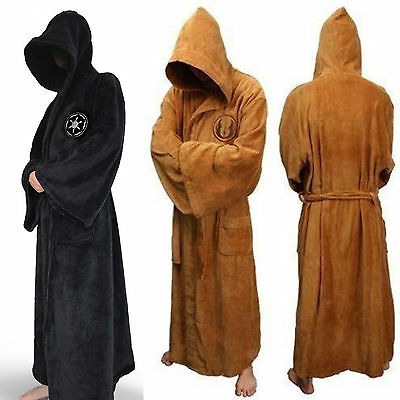 5ae491fc0c Adult Star Wars Jedi Sith Soft Fleece Hooded Bathrobe Black Bath Robe Cloak  Cape