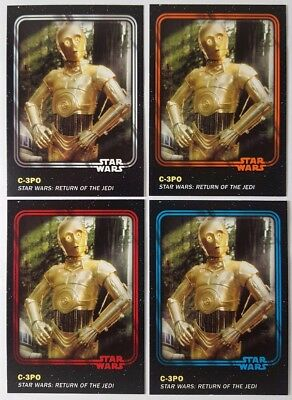 STAR WARS CARD TRADER Physical Card Lot of 4 C3PO Parallel ORANGE / 50 Red ...