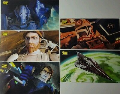 CLONE WARS  WIDEVISION Motion Trading Card SET  of 5  Topps Star Wars