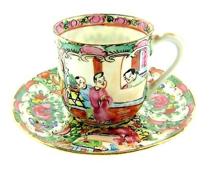 Antique Chinese Famille Rose Porcelain Demitasse Teacup Saucer