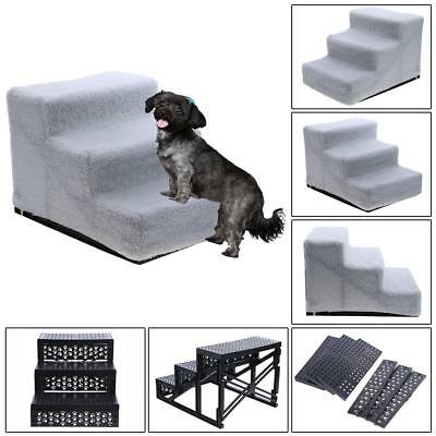 Portable 3 Steps Dog Stairs for Bed Pet Cat Ramp Ladder with Removable Cover Mat