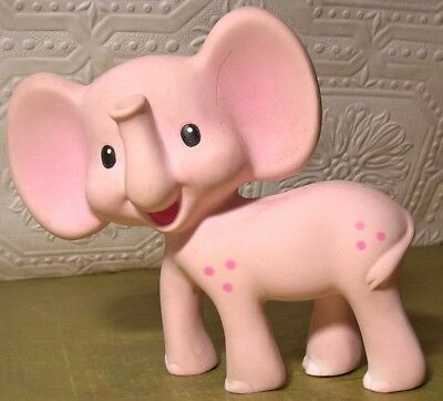 Pink Elephant Vintage Rubber Squeeze Toy by Infantino  Still SQUEEKS