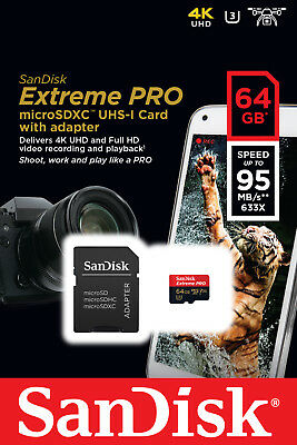Sandisk Extreme PRO 64GB - Micro SD + Adapter - 1st Class Post - Special Offer!