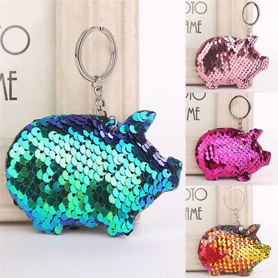 Pig Keychain Glitter Sequins Key Chain Kids Gifts Car Bag Accessories Key Ring