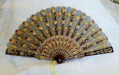 Gorgeous Vintage Peacock Feather On Brown Gold Filigree Handled Folding Hand Fan