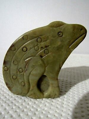 Green Carved Frog Trinket Box Jade Agate Marble Made in India Antique